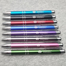 Promotion !!100pcs/lot 10 colors ballpoint pen custom printed with your logo text and logo brand free by laser marking machine