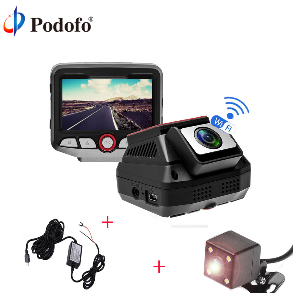 Podofo WIFI Car DVR DVRs 2.45 Novatek 96658 Dash Cam Full HD 1080P Video Recorder Registrator With Waterproof Rear View Camera stylish ruffled collar long sleeve see through lace blouse for women
