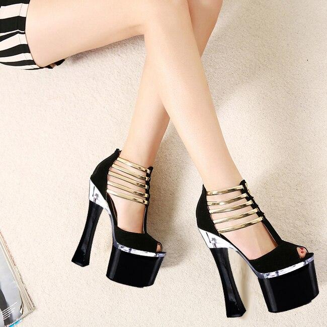 ФОТО 2016 cool lace sexy high-heeled shoes tassel platform open toe thick heel sandals female