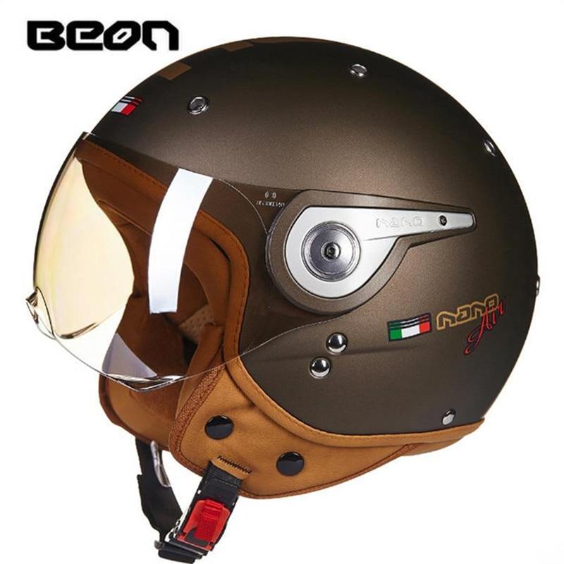 BEON 110A Motorcycle Electric Car Scooter Helmet Summer Half Helmet Fashion Harley Helmet Ear Protective Removable B110 Visor