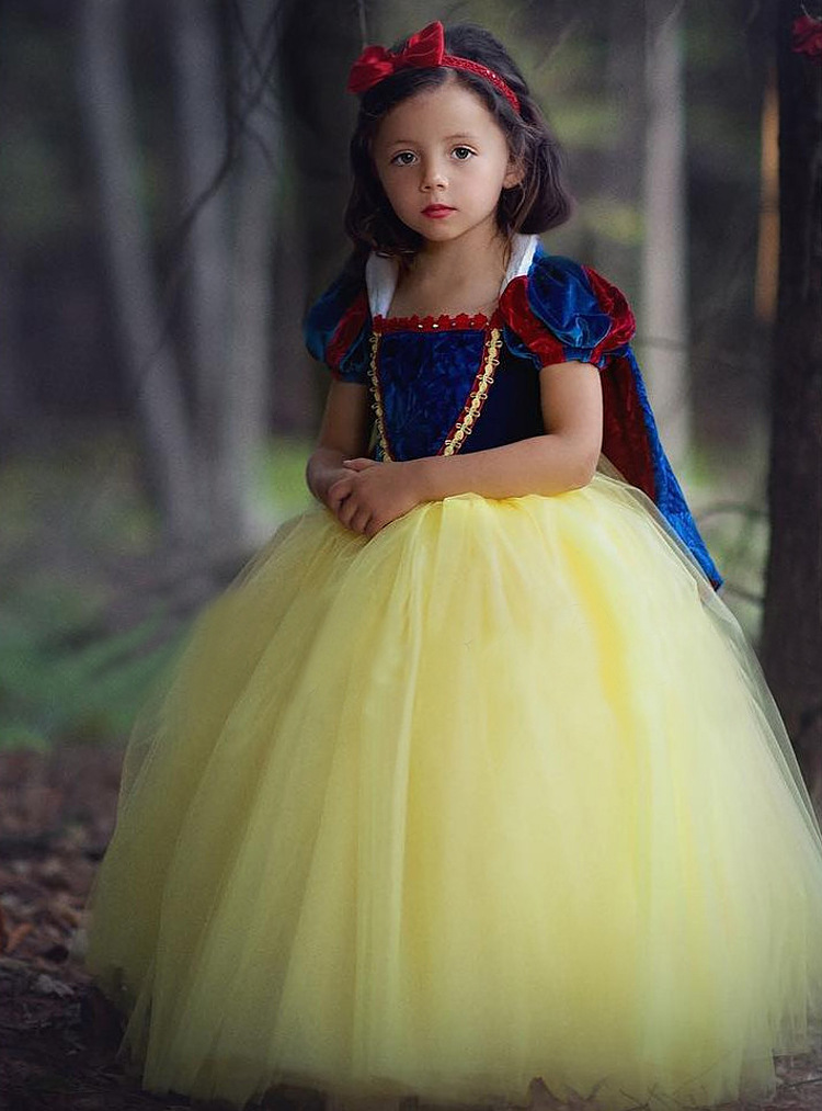 Fancy Snow White Cosplay Dress Princess Costume Girls Dress For Holiday Halloween Gown Christmas Role-play Kid Girl Clothes