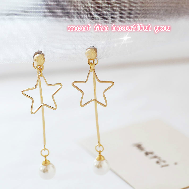 EM343 Temperament Long Imitation Pearl Women Earrings Simply Hollowed Out Five-pointed Star Dangle Earrings Jewelry Wholesale