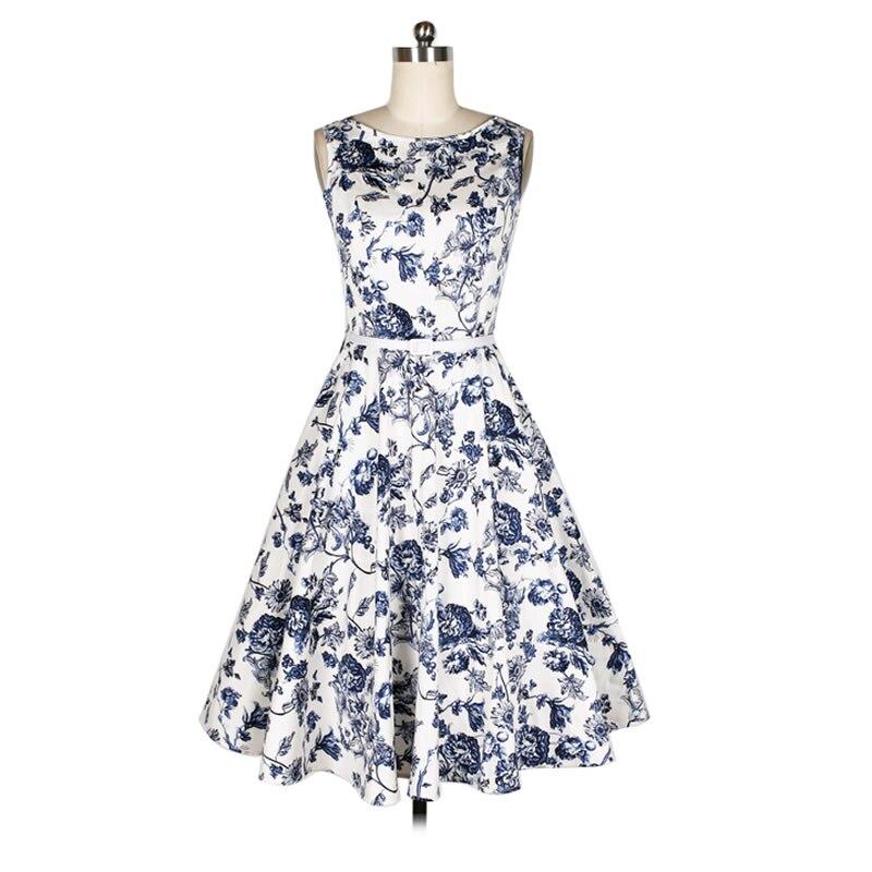 Buy Cheap 2017 Summer Women Vintage Dress Sleeveless 50 60s Audrey Tunic Dress Tropical Floral Vestidos Party Dresses Office Lady Feminino