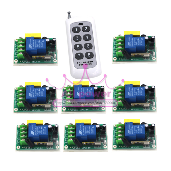 1CH 220V 30A RF 3000W Wireless Remote Control Power Switch 8Pcs and Controller 1Pc <font><b>System</b></font> For <font><b>Smart</b></font>/Intelligent Home light/<font><b>LED</b></font>