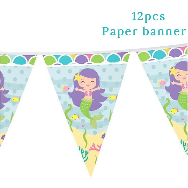 1set Banner Mermaid party plates 5c64f5cb309a9