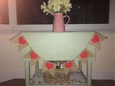 Handmade Baby Shower Hessian Buntings Red Heart Burlap Garlands Cot Banner Party Flags Room