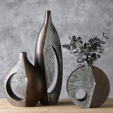Modern resin creative abstract parlor flowers vase vintage statue home decor crafts room decoration large floor vases