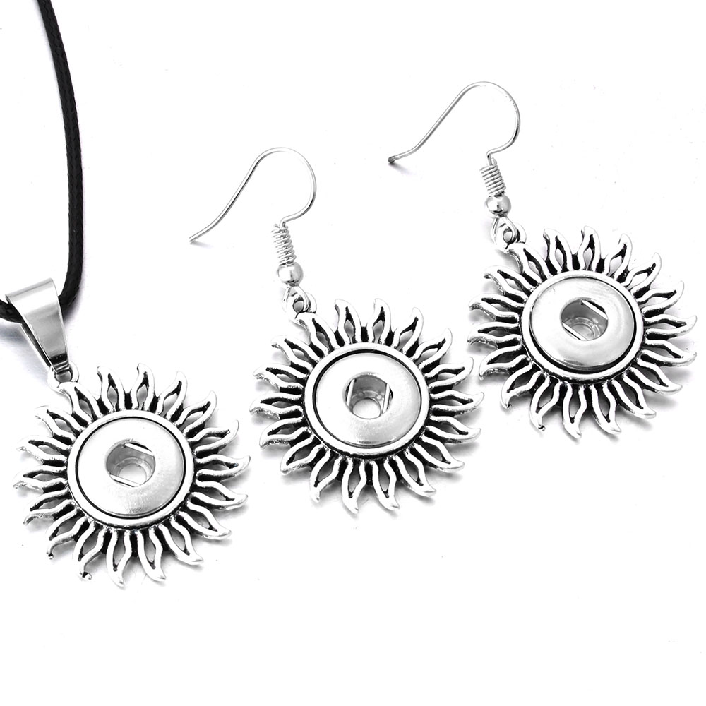New Snap Jewelry Set Hollow Out Flower 12mm Snap Button Necklace & 12mm Snap Earrings for Women Girls Mini Buttons Jewelry