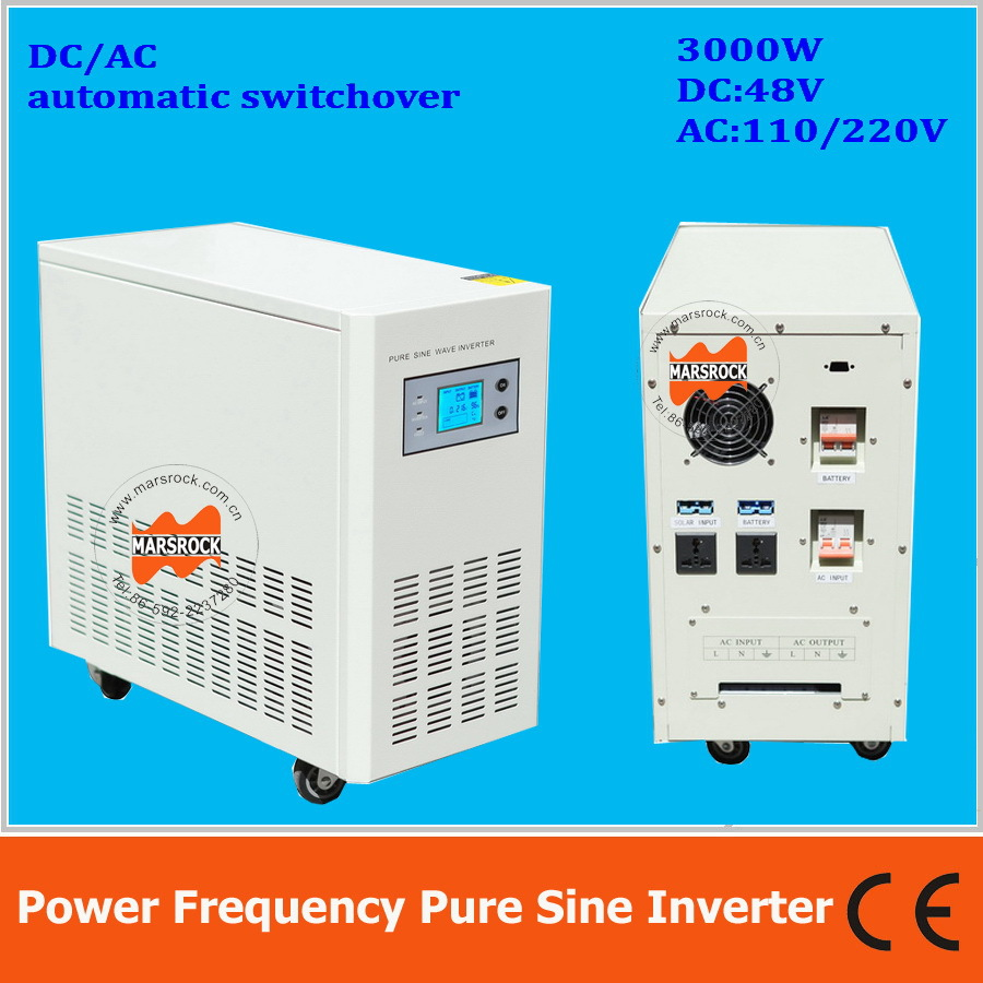 Power frequency 3000W pure sine wave solar inverter with charger DC48V to AC110V220V LCD ...