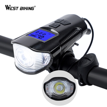 WEST BIKING 250 Lumens Bicycle Lights 3 IN 1 Waterproof Bike Front Light Computer Speedometer Bell Cycling Lamp
