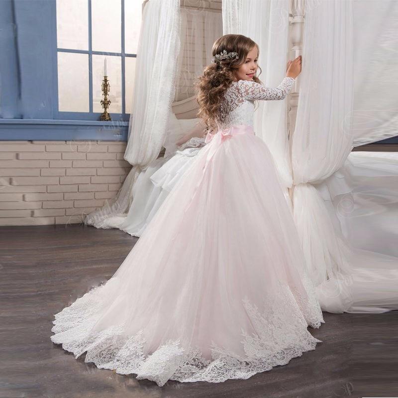 Princess Baby Flower Girls Dresses For Weddings With Pearls Beaded Sash Little Kids Floor Length Ball Gowns Pageant Dress princess flower girls dresses for