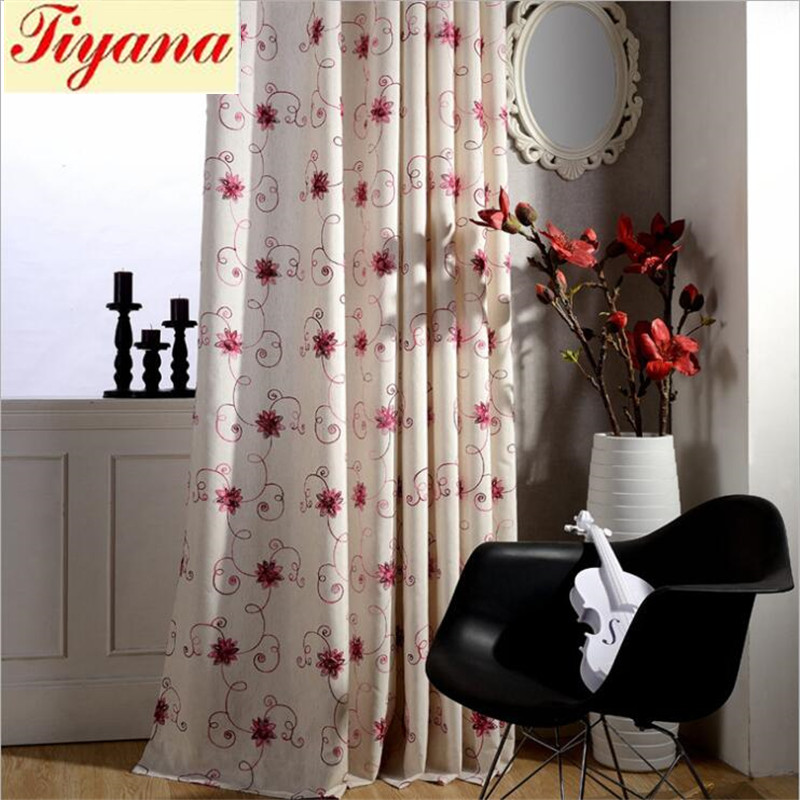 Blue Blind Curtain Window Screening Thermal Insulation Linen Cotton Fixed Pleat French Window Embroidered Blackout Su336 *30