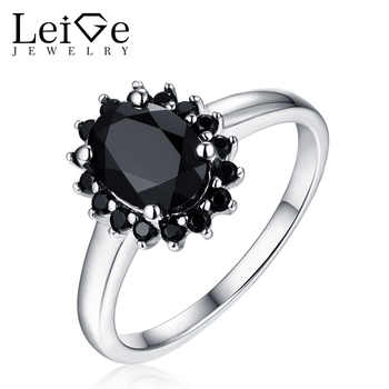 Leige Jewelry Leige Jewelry Natural Black Spinel Ring for Women Halo Gemstone Wedding Anniversary Sterling Silver Oval Cut - DISCOUNT ITEM  0% OFF All Category