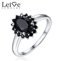 Leige Jewelry Leige Jewelry Natural Black Spinel Ring for Women Halo Gemstone Wedding Anniversary Sterling Silver Oval Cut