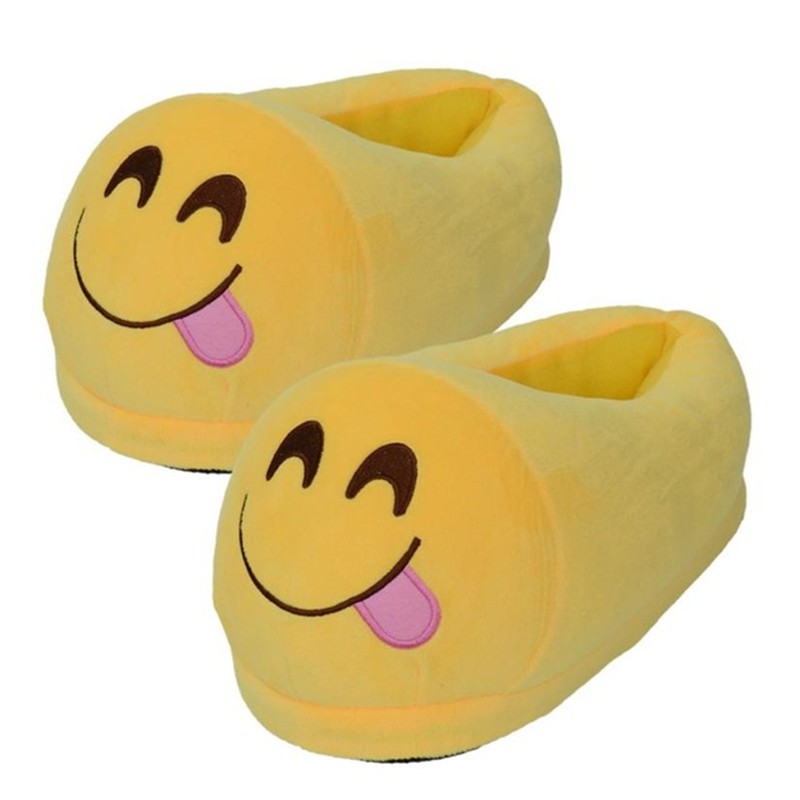 Winter men Women Home Shoes Indoor Warm funny Emoji Slipper Plush Cotton slippers Smiley Emoji Animal slipper Size 35-44 Pantufa high quality plush slipper expression men and women slippers winter house shoes one size oct20