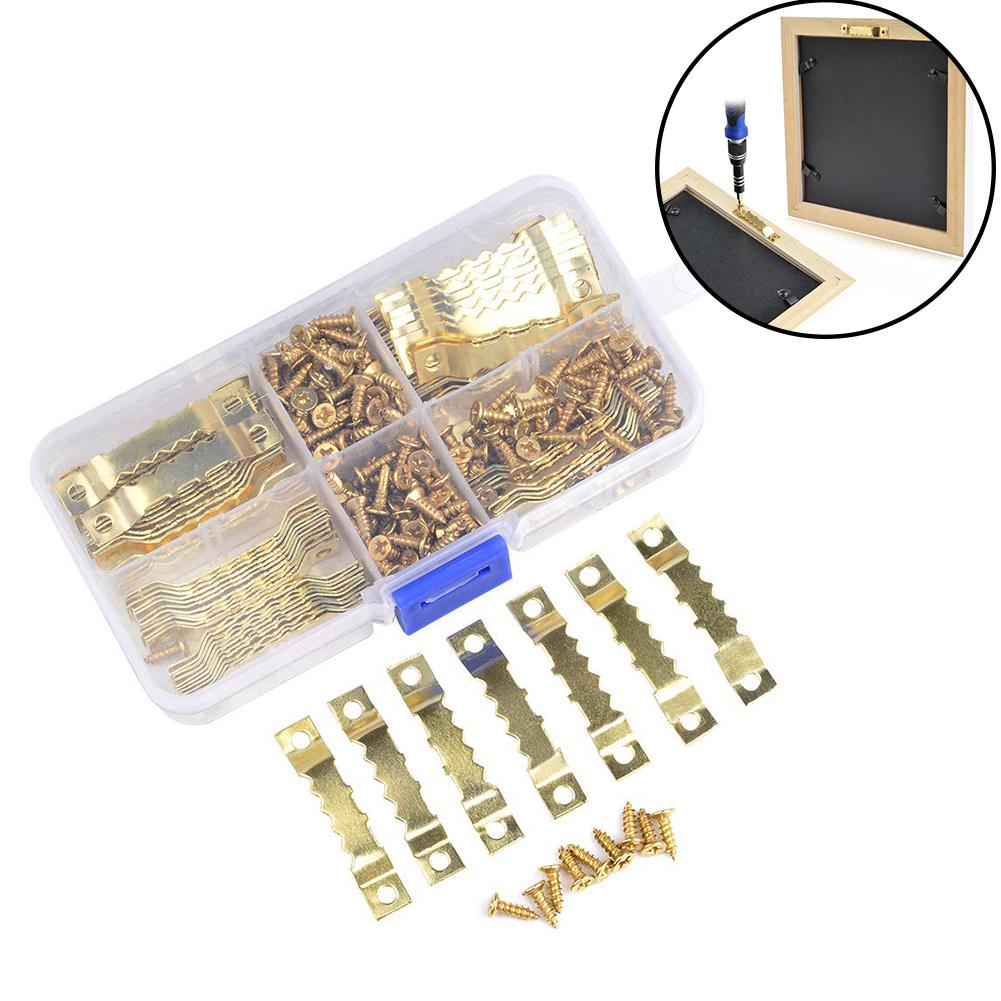 300Pcs Metal Sawtooth Hook Flat Screw Picture Frame Hanger Mounting Accessories