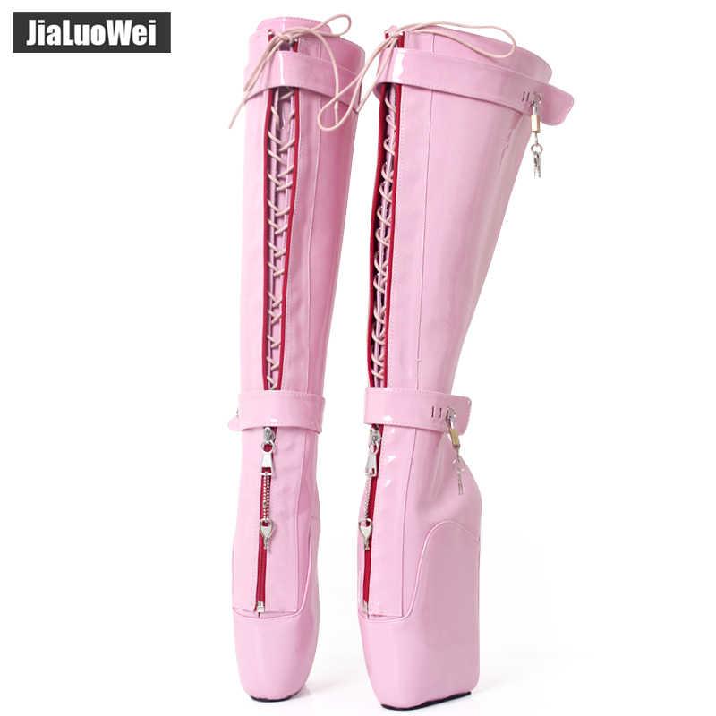 ... jialuowei NEW Women Sexy Boots 18cm High Wedge Heel Heelless Sole  Lockable Zipper padlocks Knee- ... 76f72c3ccdb6