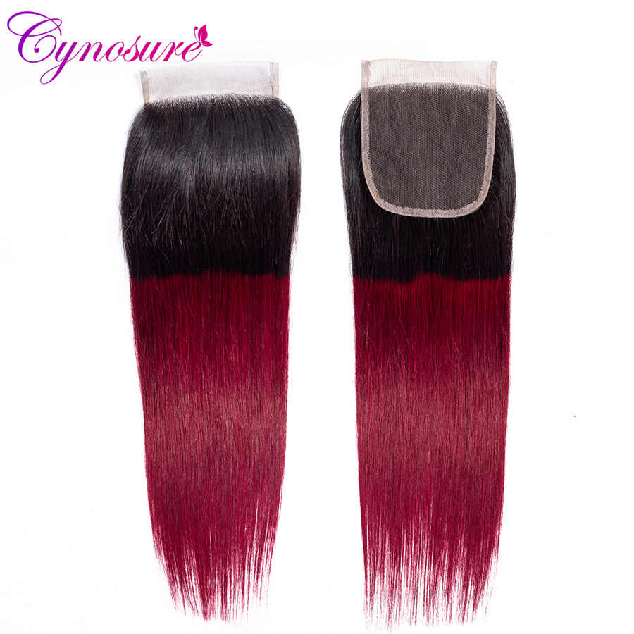 Cynosure 1b/99j Омбре человеческие волосы пучки с закрытием не Реми бразильские прямые волосы плетение 3 пучка с закрытием