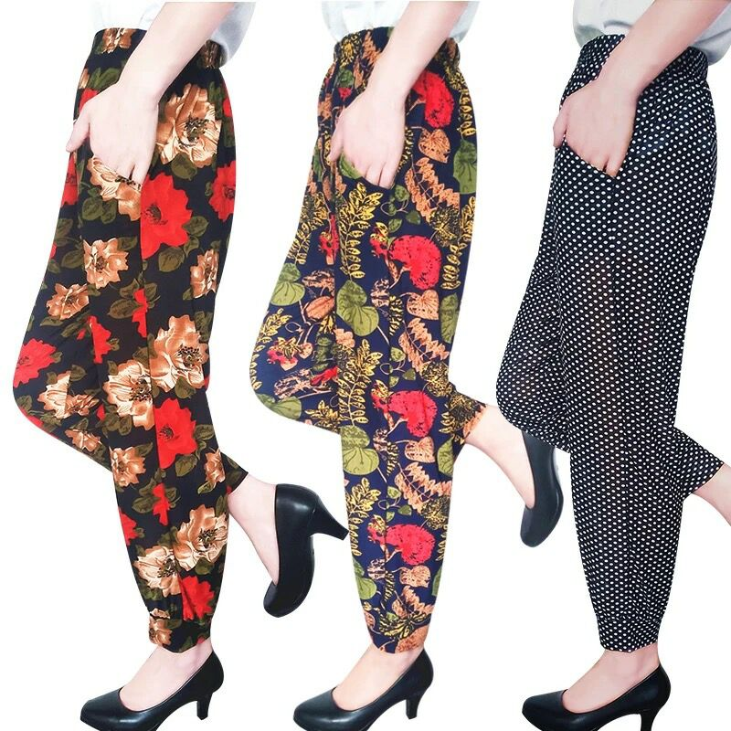 women clothing women   pants   ankle-length   pants   print high elastic trousers elastic waist european summer thin   pants   women   capris