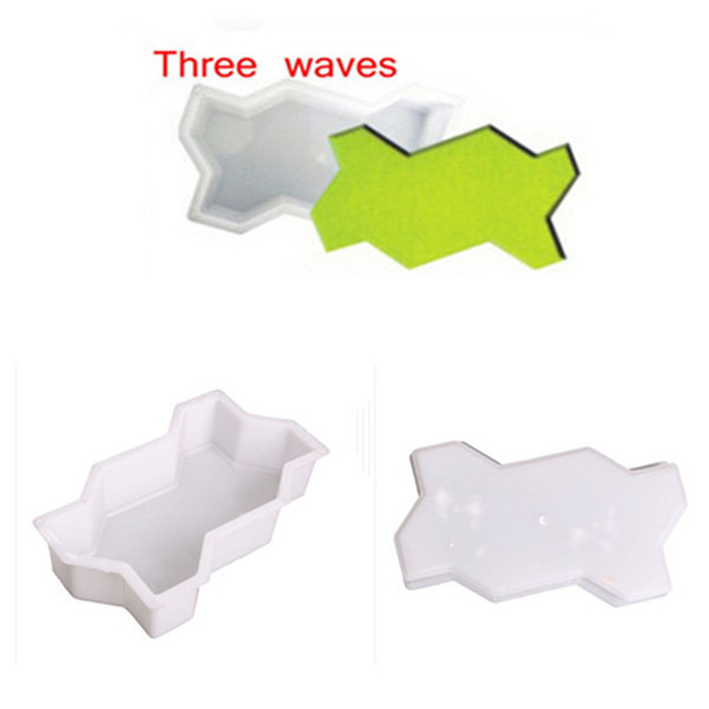 Three Waves Shape Garden Path Concrete Plastic Brick Mold DIY Paving Pavement Walkway Cement Brick Molds