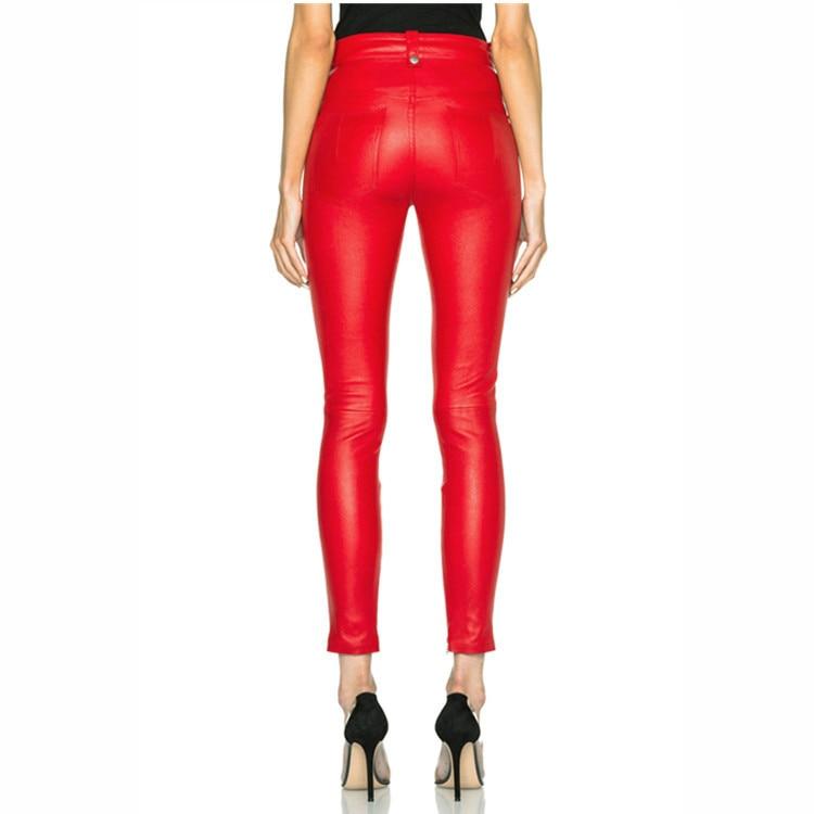 Maigre L'eau Crayon Couleur Mince Printemps Mode Et Lavage Laçage Longueur Cuir Punk Rouge noir Pantalon À Pu En Automne Cheville wavwqTZ