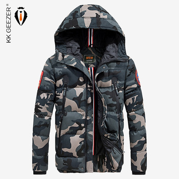Men Camouflage Cotton-Padded Jacket Winter Bomber Warm Thicken Coats High Quality Business Pocket Famous Military ArmyGreen
