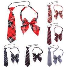 Резиновый галстук для девочек и мальчиков в клетку из полиэстера