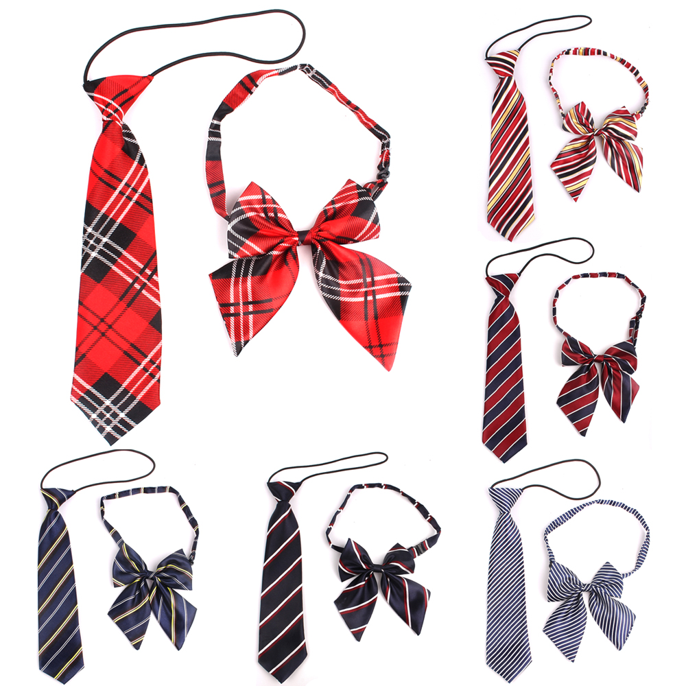 Rubber String Necktie For Girls And Boys Polyester Plaid Neck Tie For Children Suits Skinny Ties Slim Men Tie Gravatas