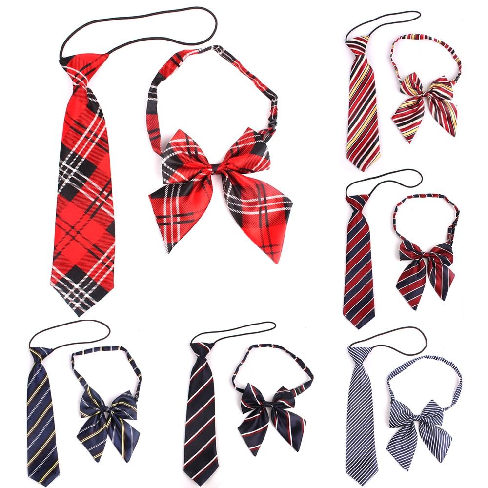 Rubber String Necktie For Girls And Boys Polyester Plaid Neck Tie For Children Suits Skinny Ties Slim Men Tie Gravatas