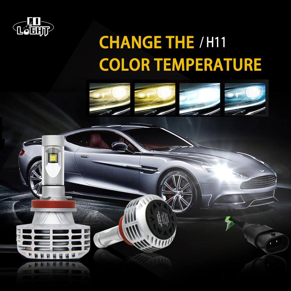 CO LIGHT 1 Set H7 Car Led Bulb 44W Led Csp Chip 3000K/4300K/6500K/8000K/10000K High Low Beam Lamp H4 Diy Headlight Bulb h7 csp led headlight single beam car led headllamp bulb 6500k 8000lm auto light source for philips chip automoveis carro voiture