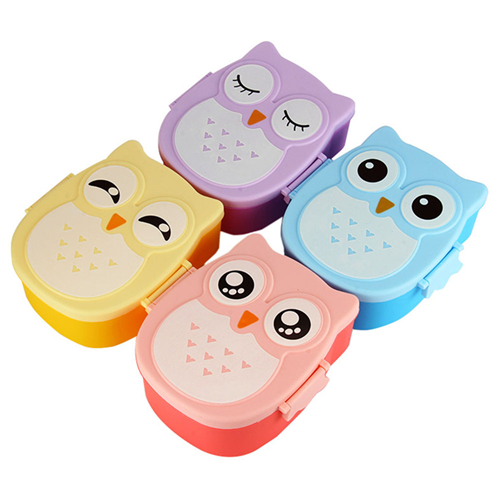 4 Colors Cartoon Owl Plastic Lunch boxs Bento Lunch Boxs Food Fruit Storage Container Microwave Cutlery Set Children Gift(China (Mainland))