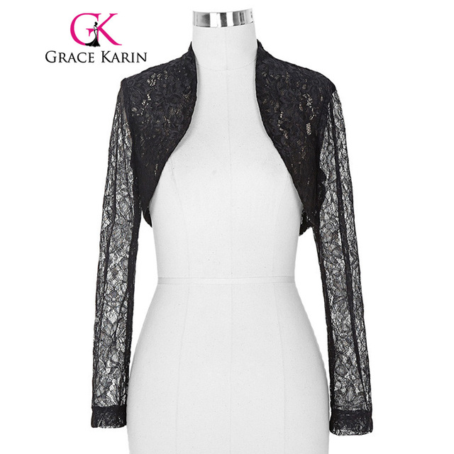 Bridal Wraps Jackets 2017 Women Ladies Long Sleeve Cropped Shrug White Black Lace Bolero Wedding Accessories Plus Size Jacket