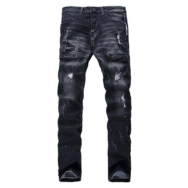 b9c68660f6ada Hemiks Mode Hommes Ripped Biker Jeans Noir Slim Fit Moto Jeans M Vienntage  Distressed Denim Jeans