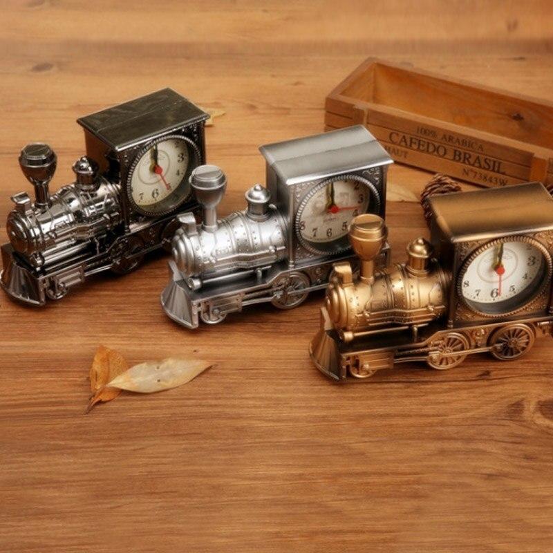 Fashion Personality Retro Locomotive Children Student Desk Watch Plastic Model Alarm Clock Continental Nostalgia