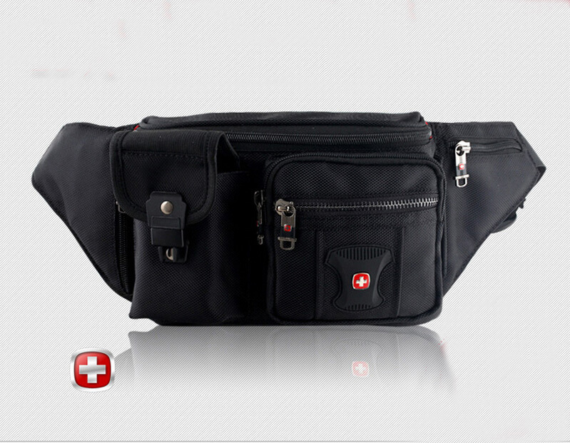 Mens Swiss Famous Brand Logo Canvas Waist Pack  Bag Travel Belt Edc Door Money Pouch Fanny Pack unny pack