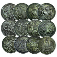 12pcs Europe and America Twelve constellations coin Ancient silver coin Tarot Wishing Sun God Commemorative Coin