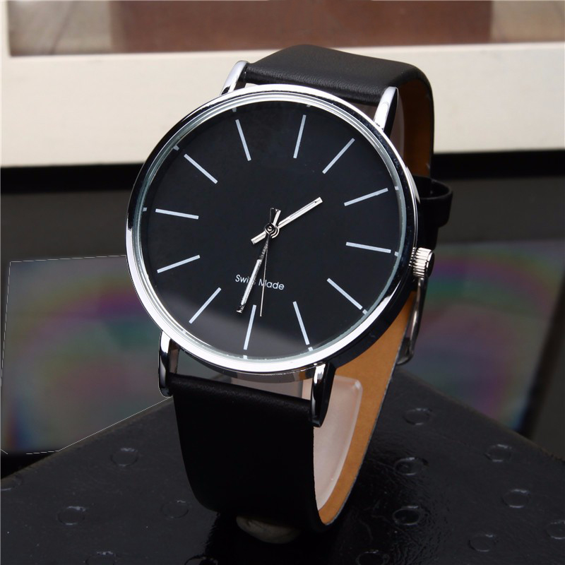 Simple Style Men's Analog Quartz Watches Men Fashion Casual Black Clock High Quality Man Leather Wrist Watch Relogio Masculino