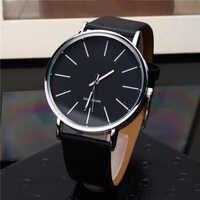 Simple Style Men's Analog Quartz Watches Men Fashion Casual Black Clock High Quality Man Leather Wrist Watch Relogio Masculino