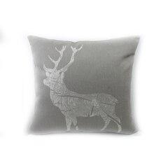 Funda de almohada de lino de algodón Vintage marrón antiguo patrón de Reno de Navidad cojín