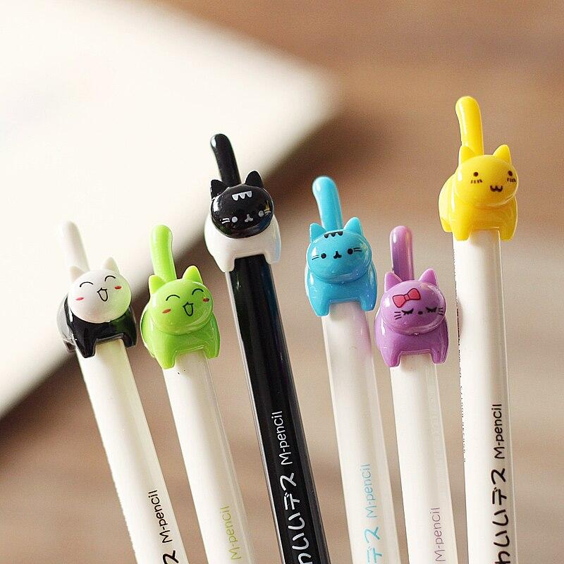 1pc 0.5mm Cute Kitten Mechanical Pencil Boligrafos Cute Gel Pen Mascot Student Gift Kawaii School Supplies Korean Stationery