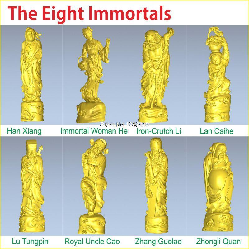 8PCS/LOT The Eight Immortals 3D model for 4 axis circular diagram 3D carved sculpture cnc machine in STL file рыболовная сеть the eight immortals 33 10