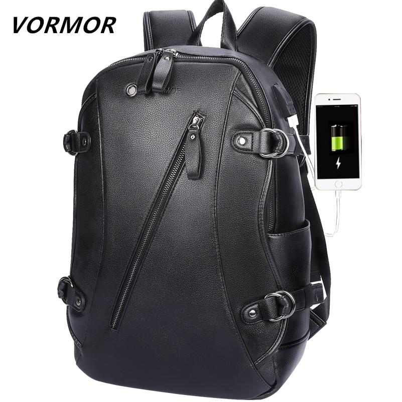 VORMOR USB Charging Men Backpack Multifunctional Waterproof 14 Inch Laptop Bag PU Leather Business Travel Bag For Man 2019