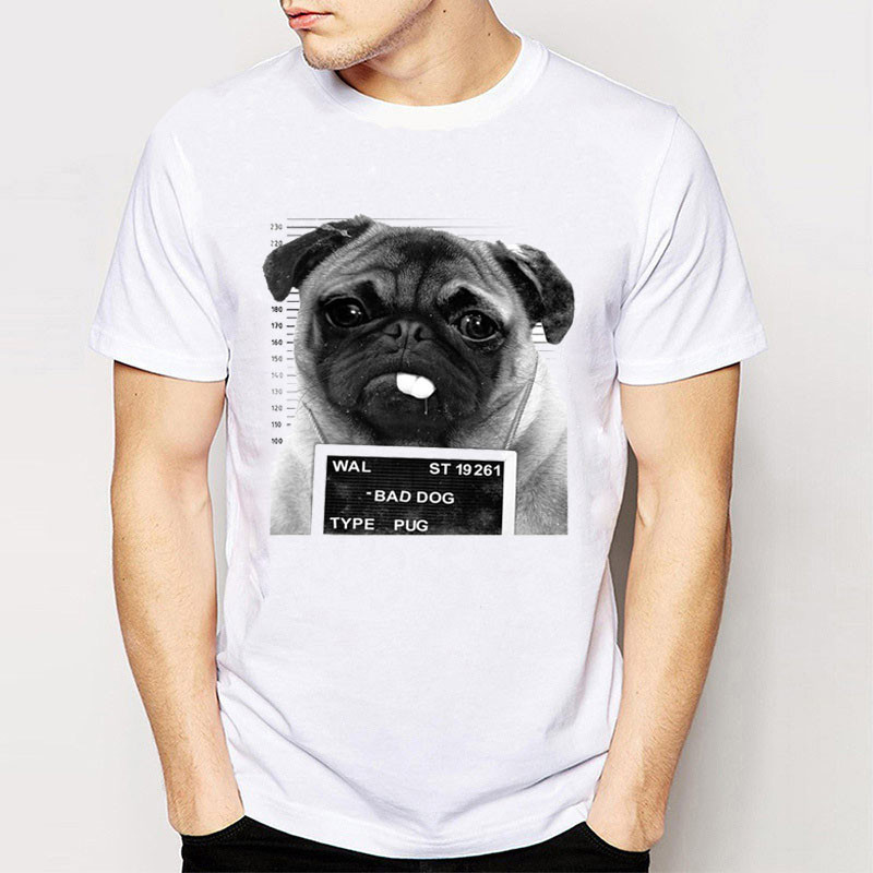 On Sale New Fashion Summer Short Bad Dog Pug Design Men Zomer O-Neck T Shirts
