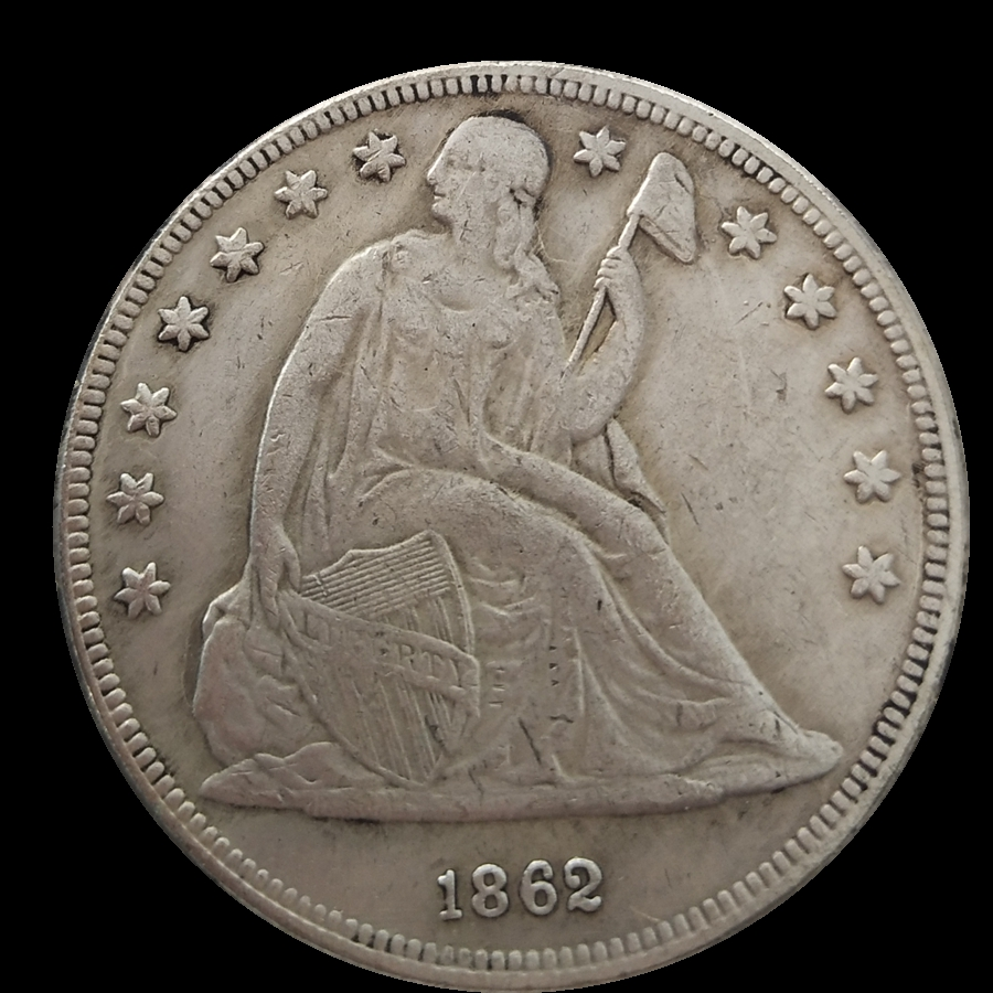 Seated Liberty Dollar 1862 Silver Plated Usa Coins Copy Used Shiny Condition