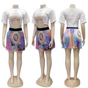 Image 4 - 2 Pieces Set Sexy Autumn Fashion Women Set 2021 Female Tops Floral Print Long Sleeve Shirt Elastic Waist Mini Skirts