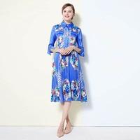 XF Bohemian Chiffon Shirt Dress Pleated Flower Print Mid Sleeve Blue Dress Summer Women High Quality Casual Holiday Dress