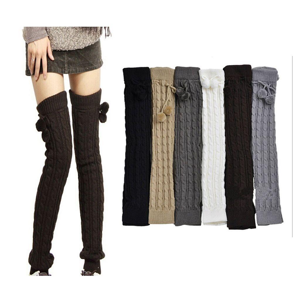 0ba358e15 Women Girls Beautiful Knitted Cotton Socks Winter Warm Thigh High Soft Thick  Long Socks Autumn Fashion Dress Top-in Stockings from Underwear    Sleepwears on ...