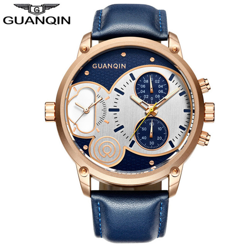2018 GUANQIN Leather Wristwatches for Men Brand Luxury Watches Chronograph Millisecond Waterproof Mens Quartz Sports Male Watch
