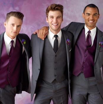 Custom Made Two Buttons Grey Groom Tuxedos Groomsmen Men's Wedding Prom Suits (Jacket+Pants+Vest+Tie) K:505