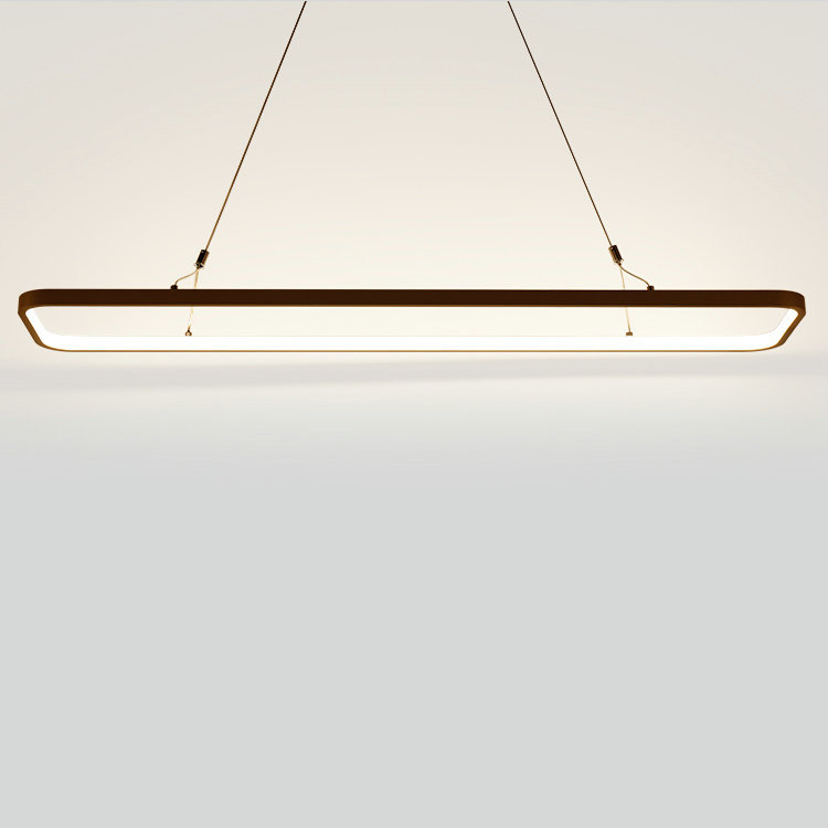 Modern Rectangle LED Pendant Light Slim Aluminum Hanging Light Dining Room Kitchen Island Study Table Suspended Lighting Fixture